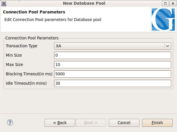 Using datasource pool wizard in gep apache geronimo v3 0 for Show parameter pool