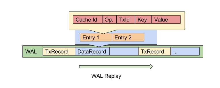 data record includes list of entries entry operations each operation has cache id operation type key and value operation type can be