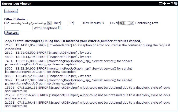 Apache Geronimo v2 1 Documentation: Server Log Viewer
