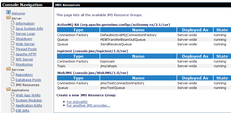 Web Application for JMS access - Apache Geronimo v2 1