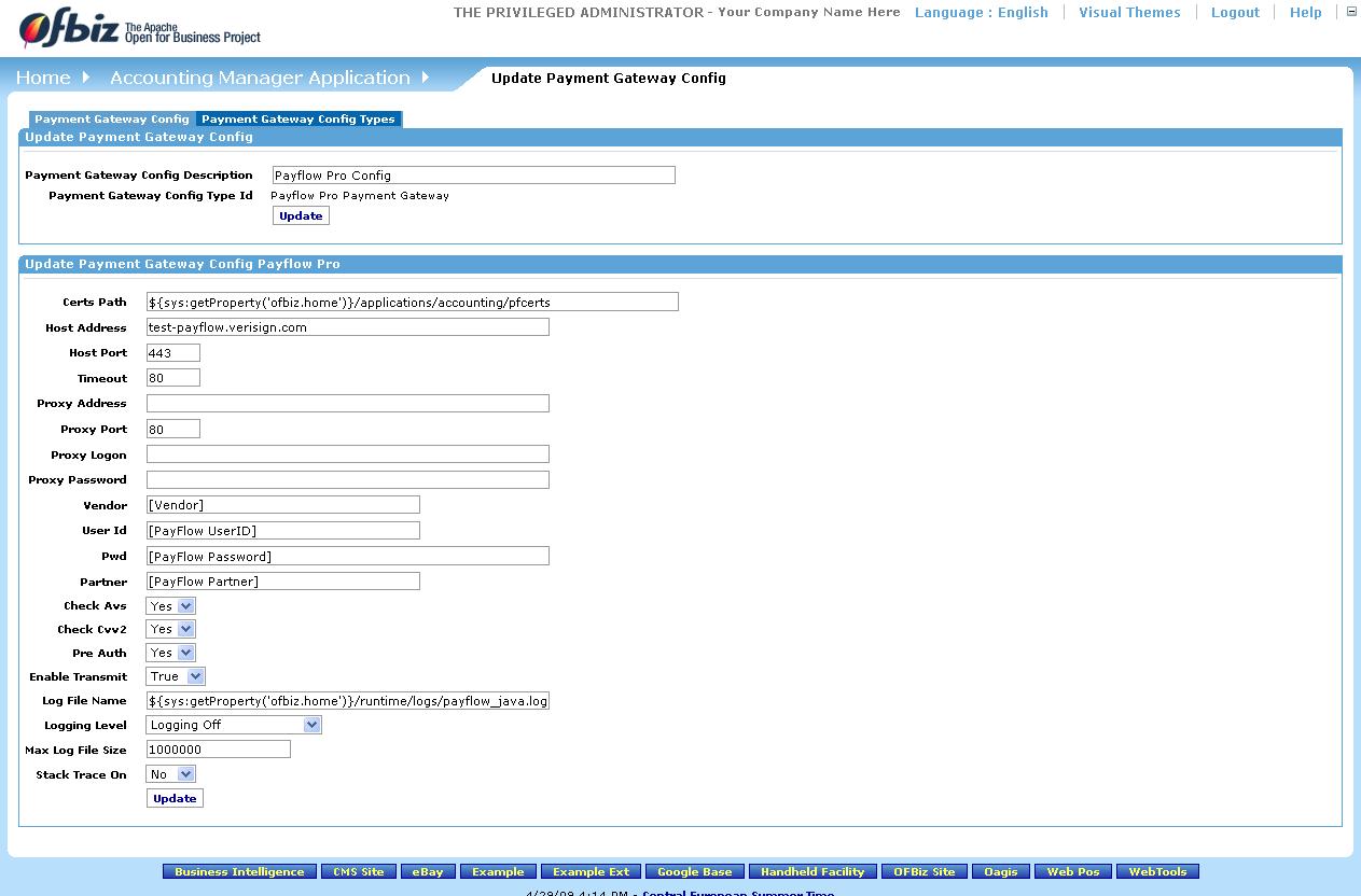 Apache OFBiz Business Setup Guide - OFBiz End-User