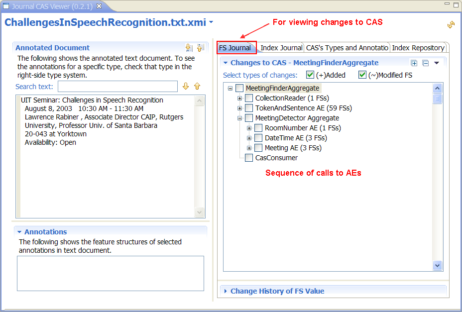 CAS Viewer Extension For Provenance Tracking of UIMA CAS