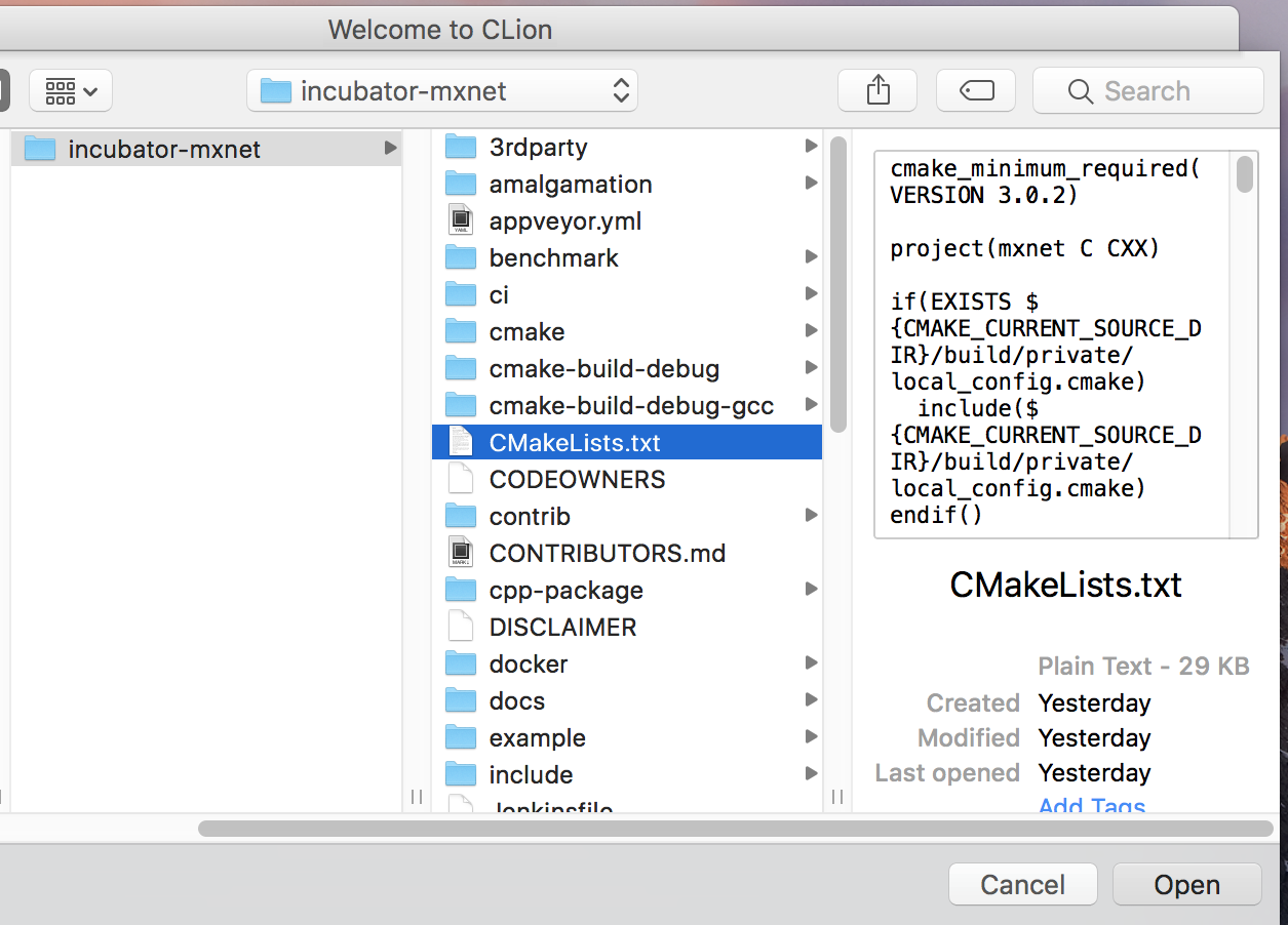 CLion setup for MXNet C++ development on Mac and Linux__